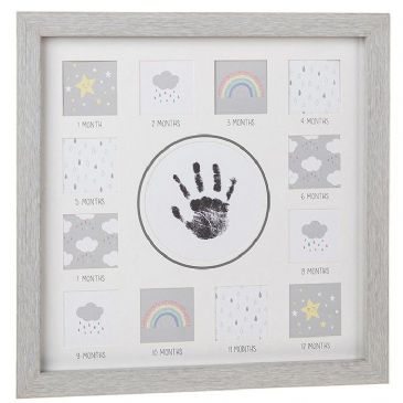 Modern Grey Baby First Year Hand Print Frame 28cm Square Wall Hang or Stand Frame